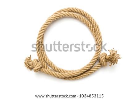 Circle rope frame on white background #1034853115