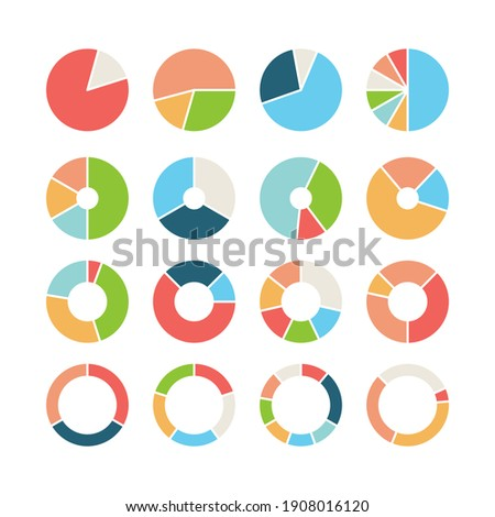 Circle section. Round chart wheel circular hub with different section donut pie business infographic template