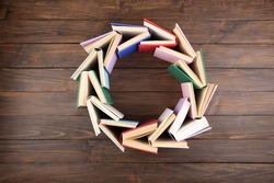 Circle shape made of books - love to wisdom, science and education. Reading and writing concept