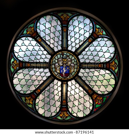 circle shape stained glass window in Hungary