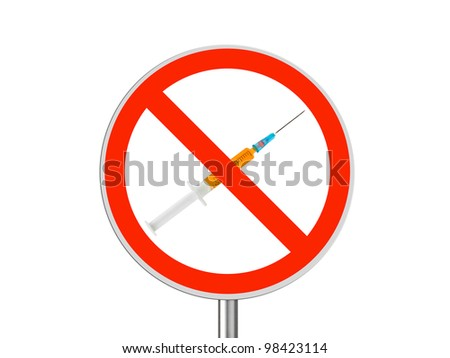 Circle sign No drugs - isolated on white background - stock photo