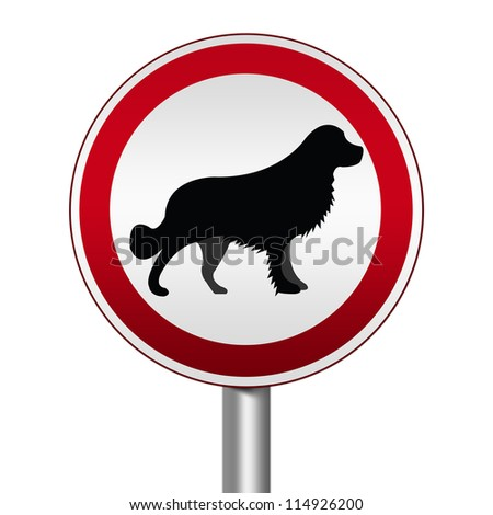 Circle Silver Metallic and Red Metallic Border Road Sign For Pet Allowed Zone Isolated on White Background