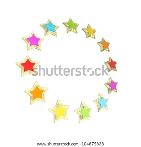 Circle star frame emblem isolated on white - stock photo