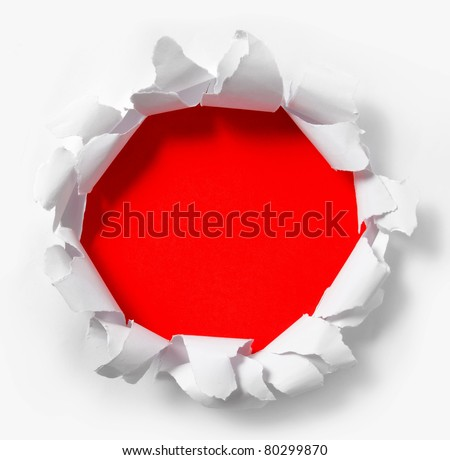 circle torn paper with red background - stock photo