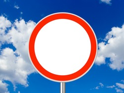 Circle traffic sign, sky on background