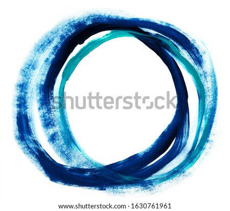 Circle trail paint line rough rough isolated acrylic white background blue place for text