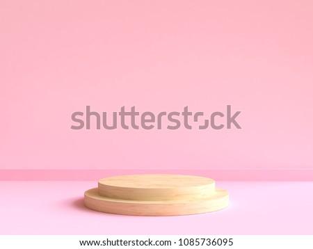 circle wood podium minimal pink wall scene 3d rendering