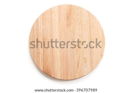circle wood tray on white background