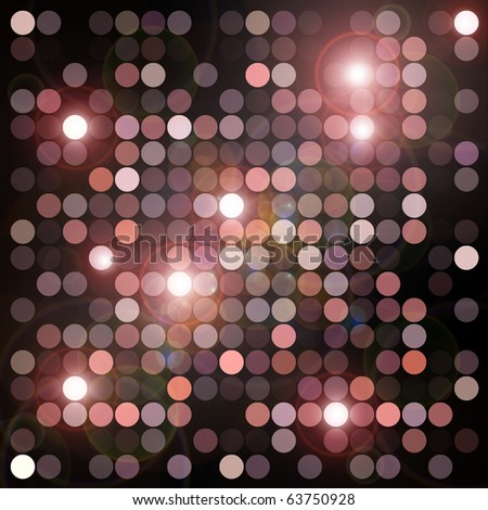 Circles geometric pattern and flashing lights background. Abstract digital illustration.