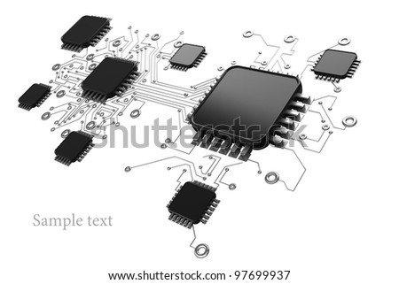 Circuit board.background high resolution 3d digitally generated image