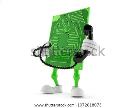 Circuit board character holding a telephone handset isolated on white background. 3d illustration