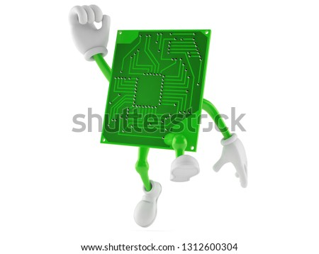 Circuit board character jumping in joy isolated on white background. 3d illustration