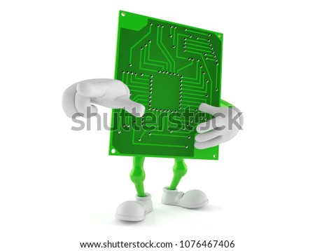 Circuit board character pointing finger isolated on white background. 3d illustration