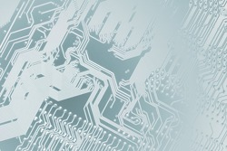 Circuit board. Electronic computer hardware technology. Motherboard digital chip. Tech science background. Integrated communication processor. Information engineering component. Light blue colors.
