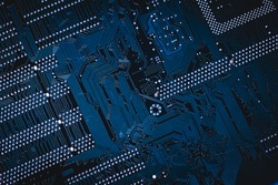Circuit board. Electronic computer hardware technology. Motherboard digital chip. Tech science background. Integrated communication processor. Information engineering component. Blue, green color.