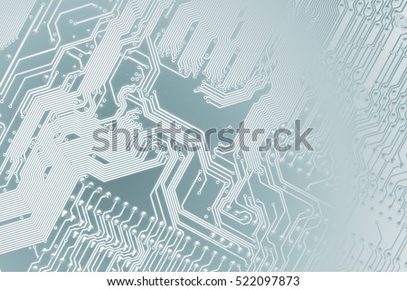 Circuit board. Electronic computer hardware technology. Motherboard digital chip. Tech science background. Integrated communication processor. Information engineering component. Light blue colors. #522097873
