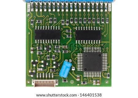Circuit Board from interface isolated on white with clipping path