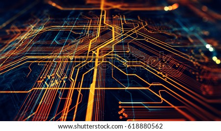 Shutterstock Circuit board futuristic server code processing. Orange,  green, blue technology background with bokeh. 3d Illustration/Printed circuit board futuristic server
