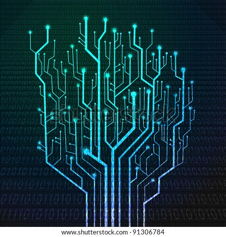 Circuit board in Tree shape Technology background