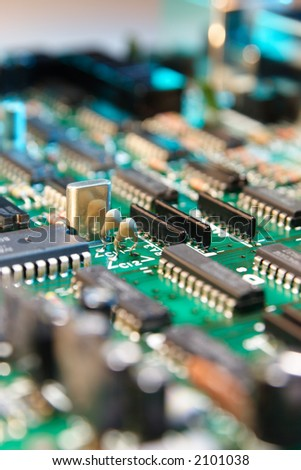 circuit board. Shallow depth of field.