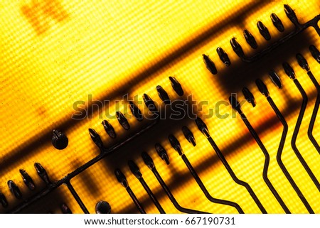 Circuit board with yellow color - Shutterstock ID 667190731