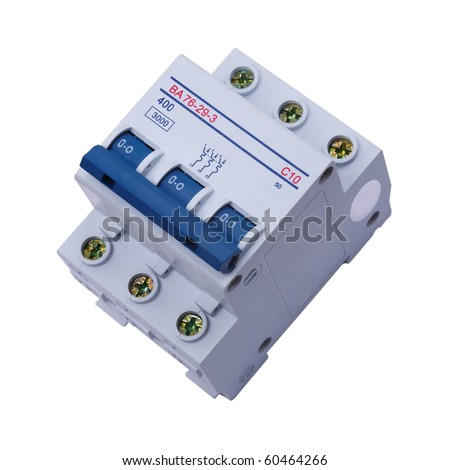 Circuit Breaker on a white background. Circuit breaker used on items such as a residential iron, hot water heater, a kitchen oven, or an electric clothes dryer. The isolated object.