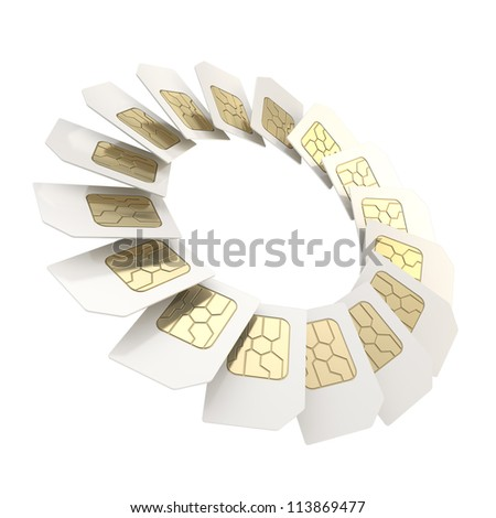 Circuit microchip SIM card round circle empty copyspace emblem frame isolated on white background