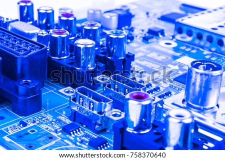 Circuitboard with resistors, microchips and electronic components. Electronic computer hardware technology. Integrated communication processor. Information engineering component. Semiconductor. PCB.