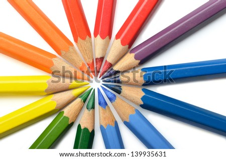 Circular arrangement of colored pencils on white background