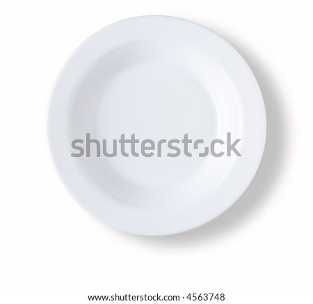 circular blank and empty white dish over white background with shadow