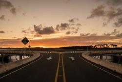 circular bridge in uruguay at sunset - Laguna Garzón
