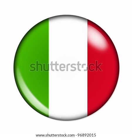 Circular,  buttonised flag of Italy