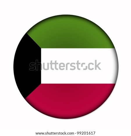 Circular,  buttonised flag of Kuwait