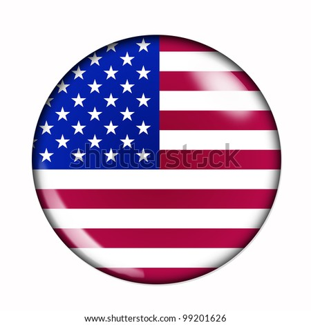 Circular,  buttonised flag of United States of America
