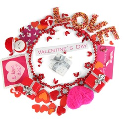 Circular composition Valentine's Day isolated on white