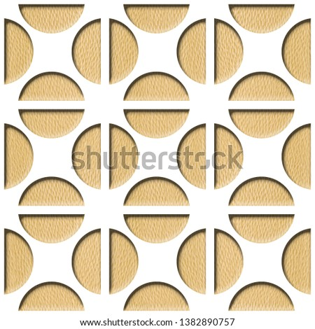 Circular decorative pattern - Decorative circular shape, Wallpaper texture background - Continuous replication, Fine natural structure - White Oak wood texture