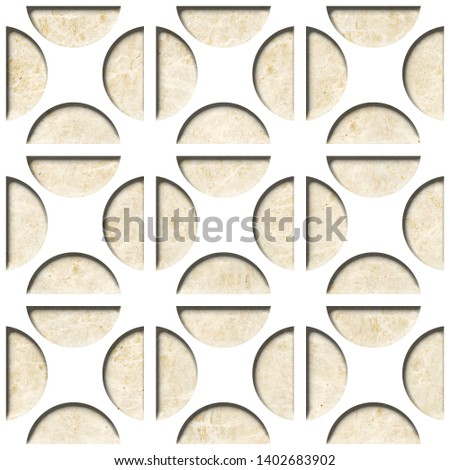 Circular decorative pattern - Decorative wall paneling, Wallpaper texture background - Continuous replication, Fine natural structure - marble surface