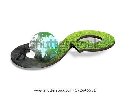 Circular economy concept. Arrow infinity symbol of grass texture with man pushing globe, isolated on white background. #572645551