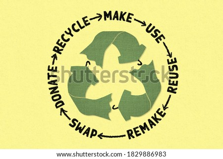 Circular Economy Textiles, make, use, reuse, swap, donate, recycle with eco clothes recycle icon sustainable fashion concept Foto stock ©