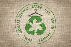 Circular Economy Textiles, make, use, reuse, swap, donate, recycle with eco clothes recycle icon on hanger sustainable fashion concept