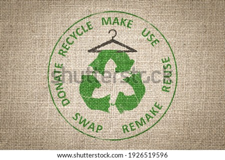 Circular Economy Textiles, make, use, reuse, swap, donate, recycle with eco clothes recycle icon on hanger sustainable fashion concept Photo stock ©