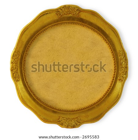 circular golden frame with background isolated on white