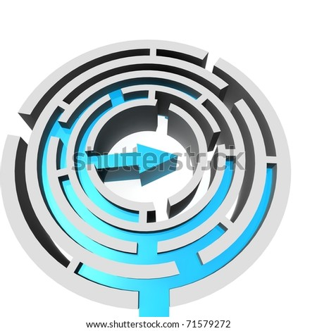 circular maze which is located inside the blue arrow - stock photo