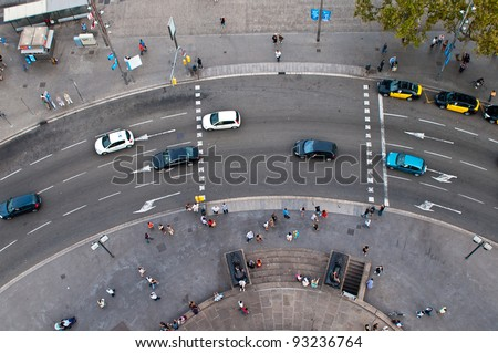 Circular motion view from the top, Barcelona, Spain