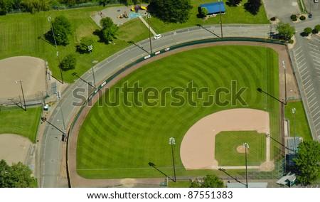 Circular mowing pattern in a baseball field