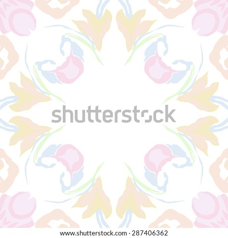 Circular  pattern of  floral garland, leaves, spots, hole,flowers, copy space. Hand drawn.