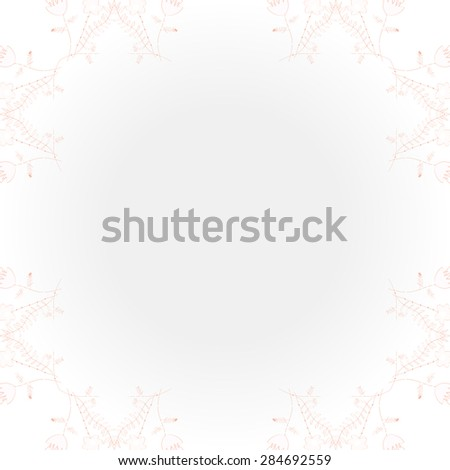 Circular  pattern of  floral motif, branches, bouquets, spots, hole, copy space. Hand drawn.