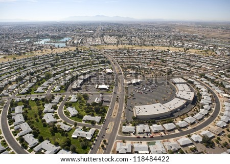 Circular pattern of rooftops in Sun City. Arizona