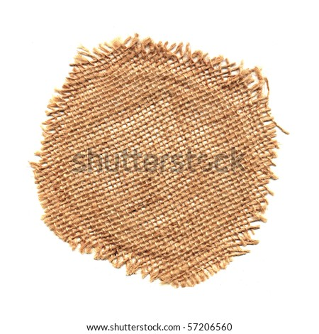 Circular raffia mesh isolated on white background.