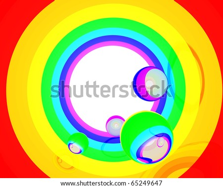 circular rainbow with crystal spheres inside